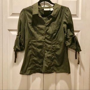 DKNY Fitted Army Green Blouse